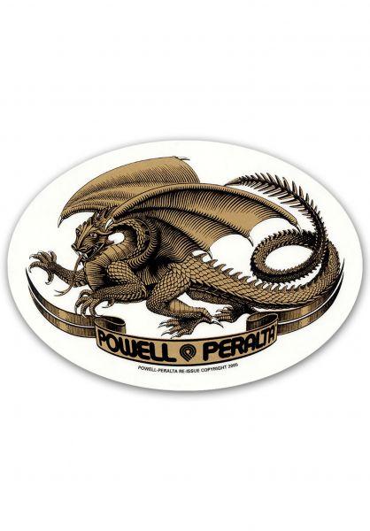 Powell-Peralta Verschiedenes Oval Dragon Sticker gold vorderansicht 0972243