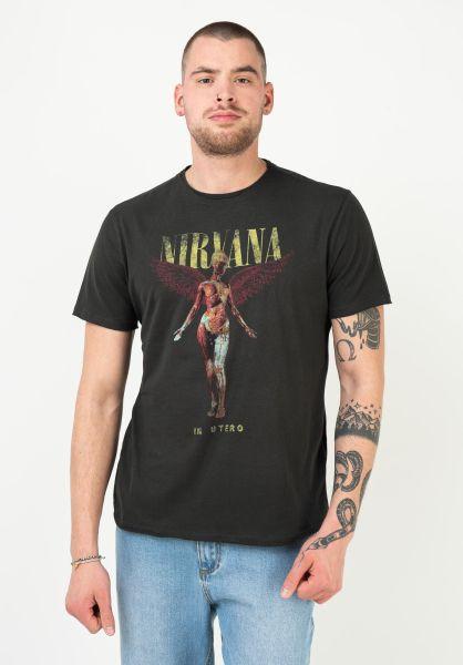Amplified Mens Thé NIRVANA In Utero T-Shirt Hommes Col Ras Charcoal thé metal
