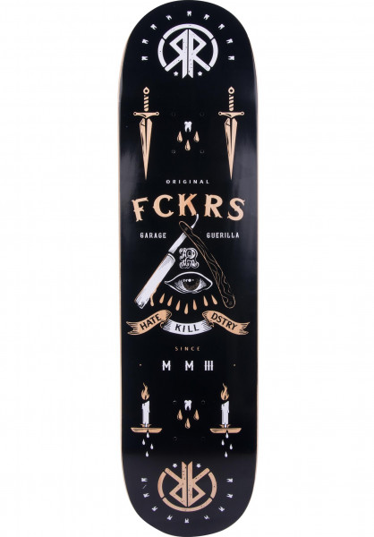 Rebel Rockers Skateboard Decks FCKRS black Vorderansicht