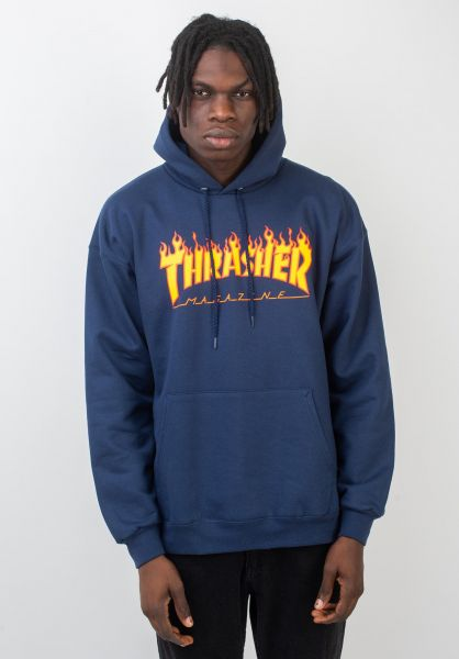 Thrasher Hoodies Flame navy vorderansicht 0044255