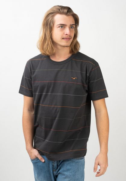 Cleptomanicx T-Shirts Multi Stripe phantomblack vorderansicht 0397442