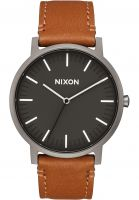 Nixon-Uhren-The-Porter-Leather-gunmetal-charcoal-taupe-Vorderansicht