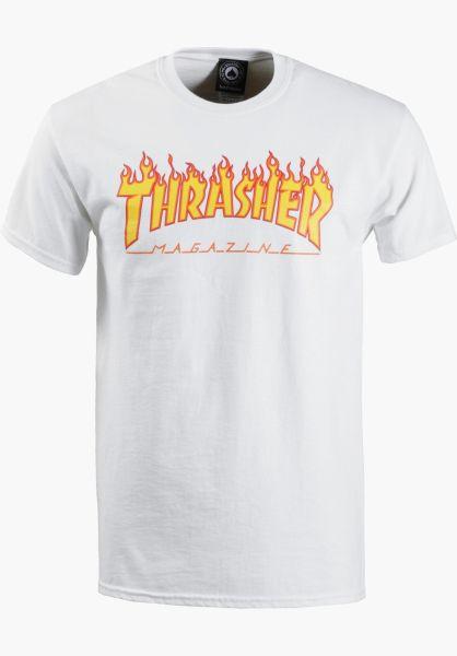 Thrasher T-Shirts Flame white vorderansicht 0036093