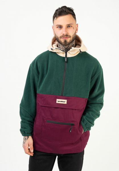 Goodbois Windbreaker Raw Fleece Anorak forest vorderansicht 0122613