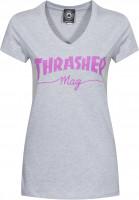 Thrasher-T-Shirts-Mag-Logo-Girls-V-Neck-grey-Vorderansicht