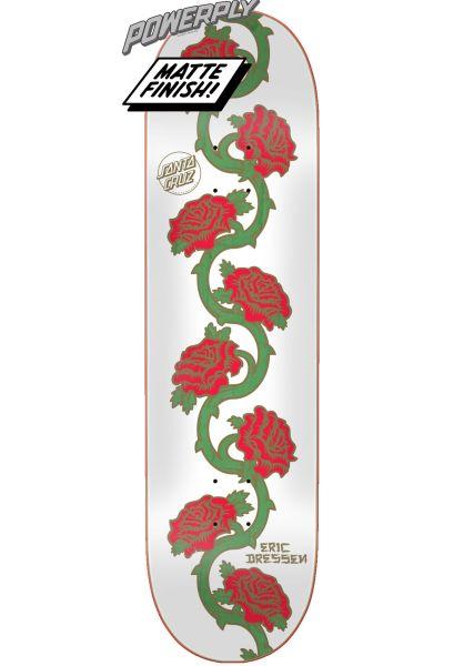 Santa-Cruz Skateboard Decks Dressen Rose Vine Powerply white-red vorderansicht 0262897