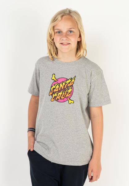 Santa-Cruz T-Shirts Youth Crossbone Dot heathergrey vorderansicht 0323318