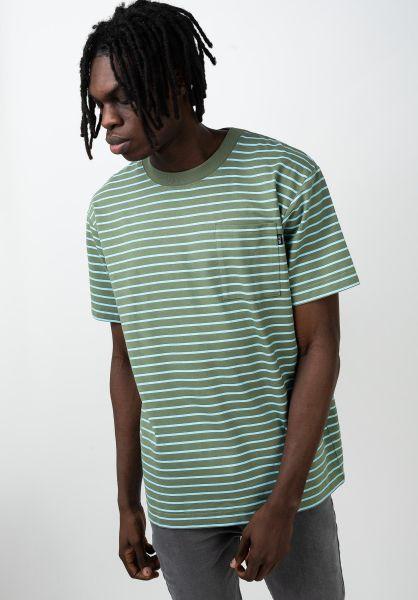 TITUS T-Shirts Eli green-striped vorderansicht 0320153
