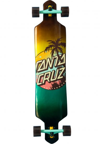 Santa-Cruz Longboards komplett Palm Dot 9.2in x 41in Cruzer Drop Thru yellow-blue vorderansicht 0194253