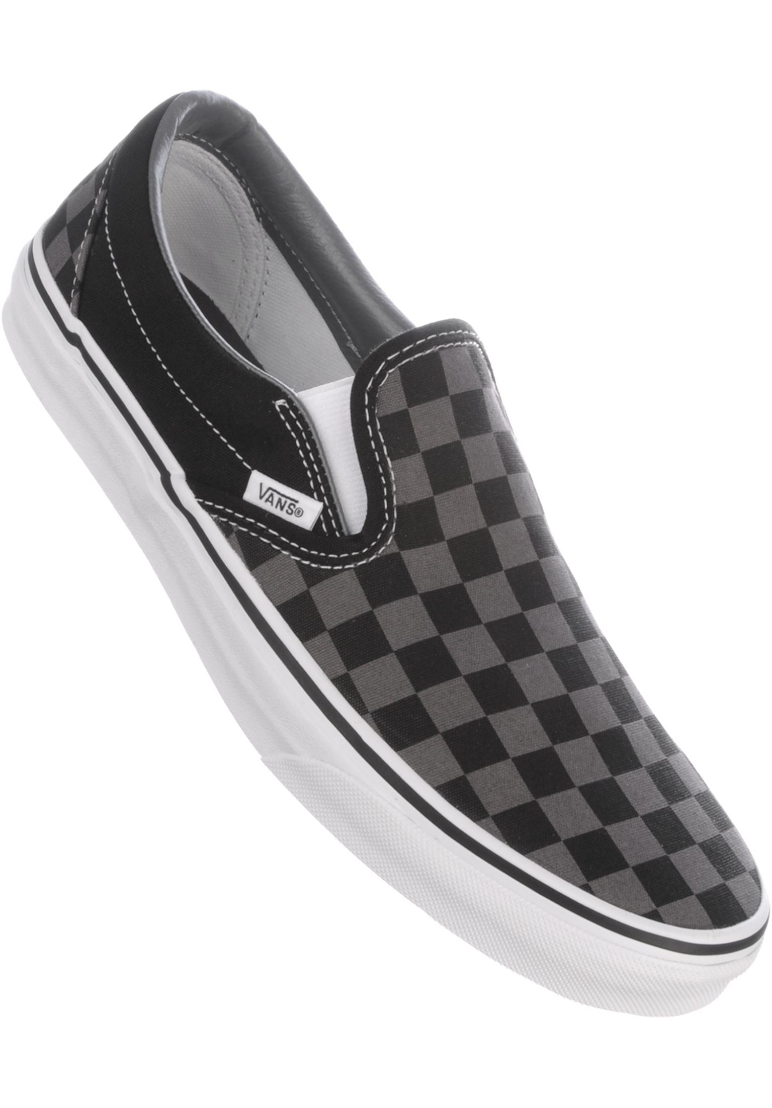 2567d9194e40a8 Classic-Slip-On Vans All Shoes in black-pewter-checkerboard for Men ...