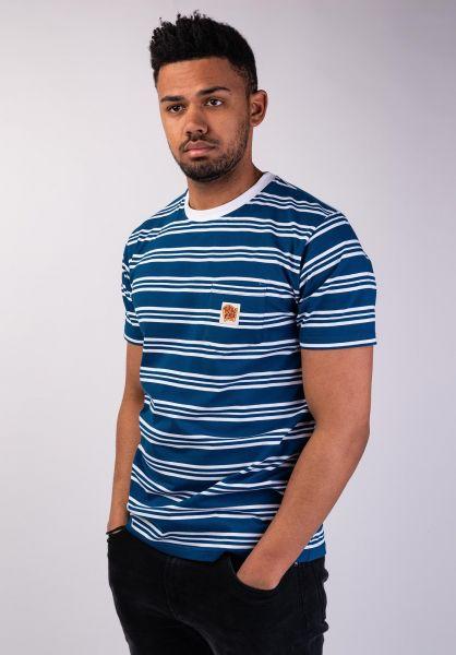 Turbokolor T-Shirts Stripes Pocket Heinz blue-white vorderansicht 0320194