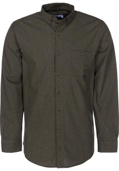 Reell Hemden langarm Melange khaki vorderansicht 0411837
