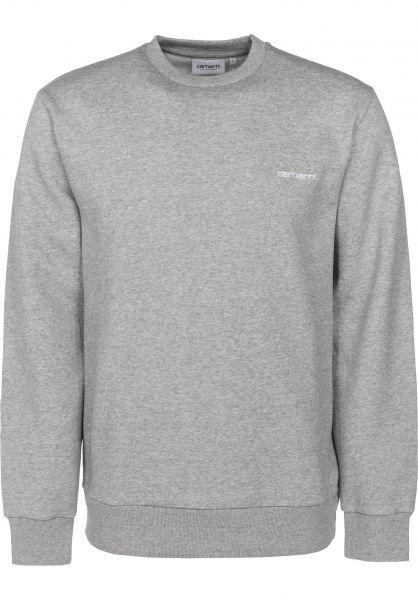 59d8bca11ce Carhartt WIP Sweatshirts und Pullover Script Embroidery greyheather-white  Vorderansicht