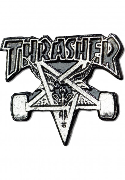 Thrasher Verschiedenes Skategoat Lapel Pin silver Vorderansicht
