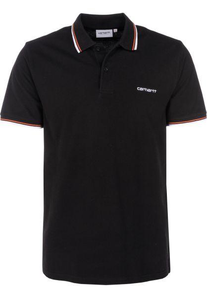 Carhartt WIP Polo-Shirts Script Embroidery black-white-pepper vorderansicht 0138379