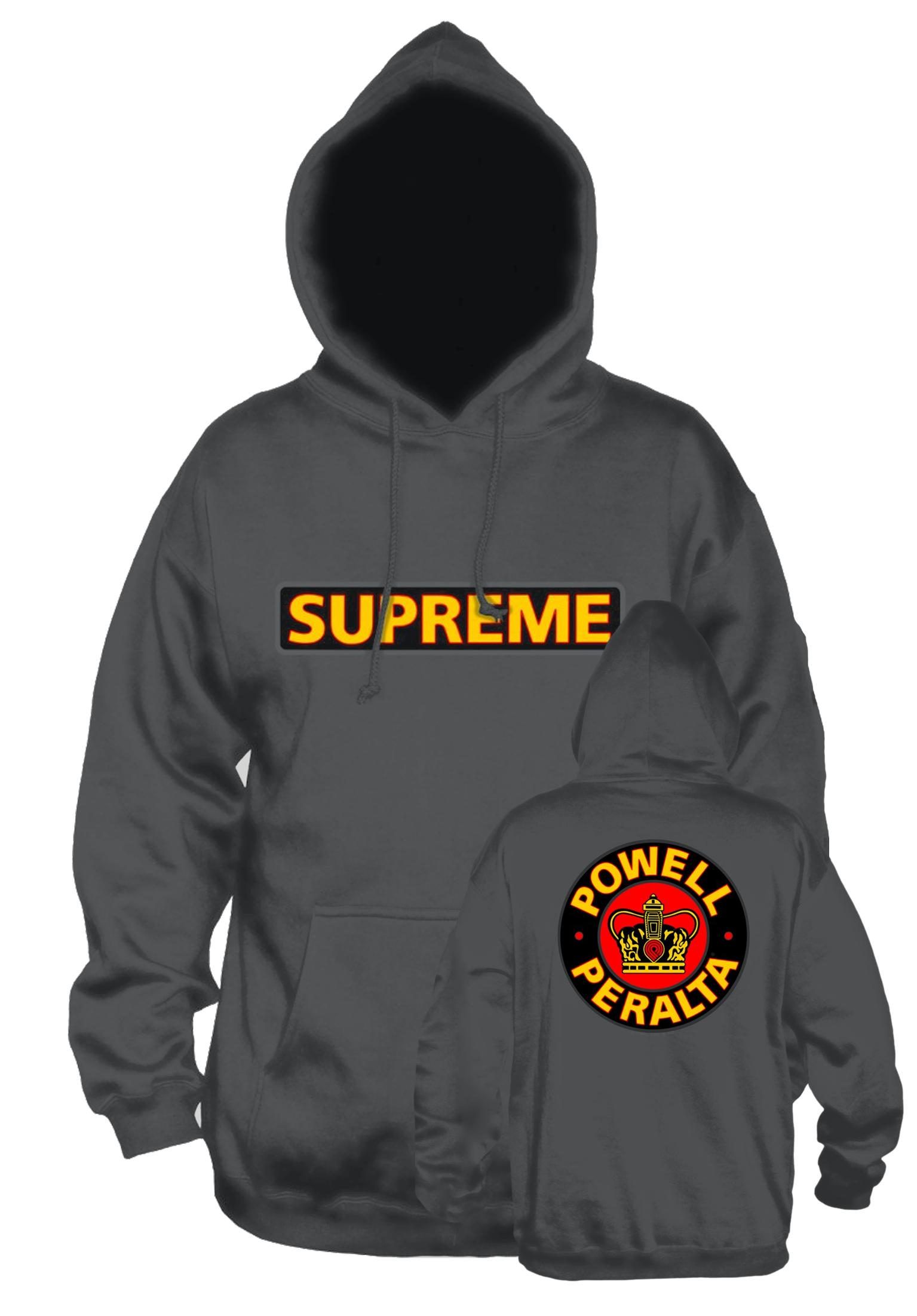 supreme medium weight powell peralta hoodies in charcoal. Black Bedroom Furniture Sets. Home Design Ideas