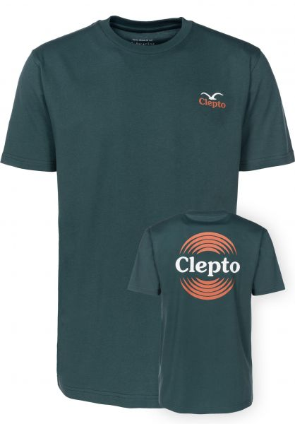 Cleptomanicx T-Shirts Pong bottlegreen Vorderansicht