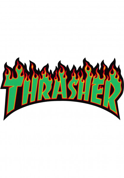 Thrasher Verschiedenes Flame Sticker Large rasta Vorderansicht