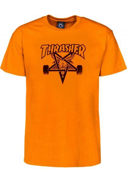 Thrasher T-Shirts Skate Goat safetyorange Vorderansicht