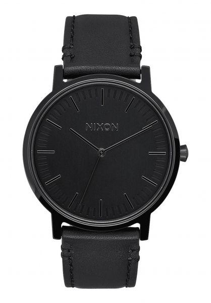 Nixon Uhren The Porter Leather all-black vorderansicht 0810342