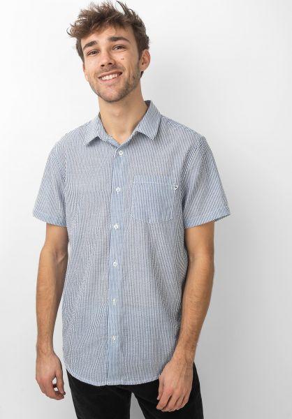 Wemoto Hemden kurzarm Trevor navyblue-white vorderansicht 0400953