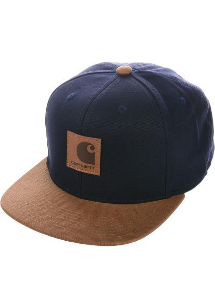 Carhartt WIP Caps Logo Cap Bi-Colored darknavy-hamiltonbrown vorderansicht 0565948