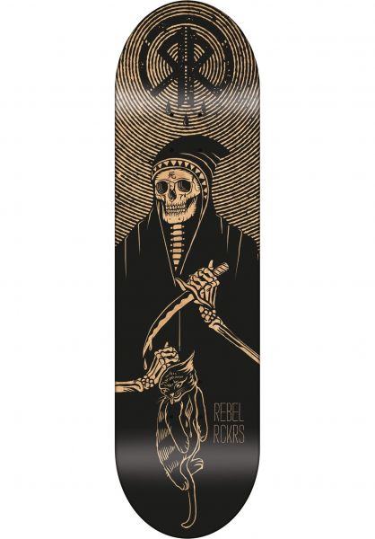 Rebel Rockers Skateboard Decks Chat Noir black Vorderansicht
