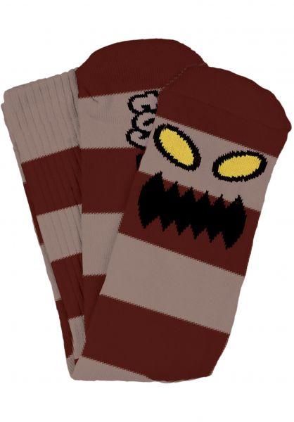Toy-Machine Socken Monster Big Stripe burgundy Vorderansicht