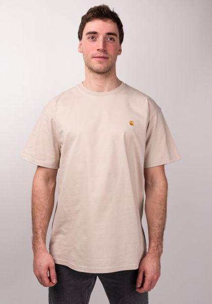 Carhartt WIP T-Shirts Chase boulder-gold vorderansicht 0396618