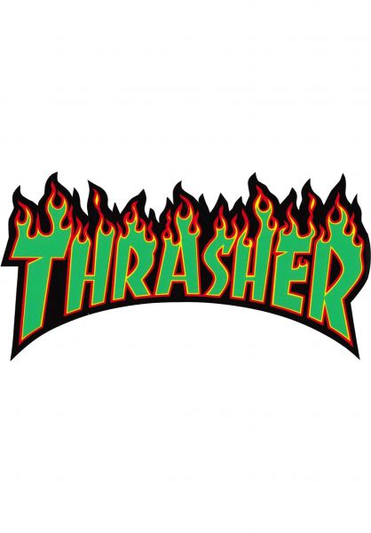 Thrasher Verschiedenes Flame Sticker Medium rasta Vorderansicht