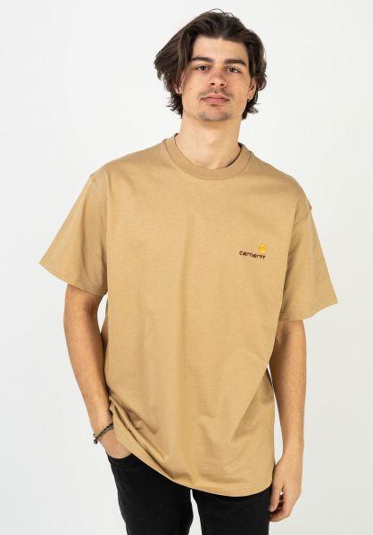 Carhartt WIP T-Shirts American Script dustyhamiltonbrown vorderansicht 0399768