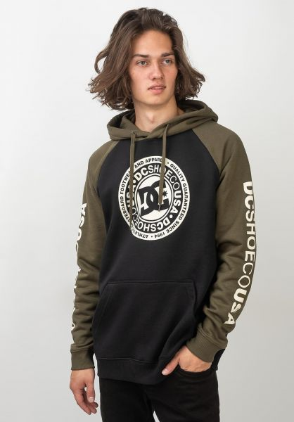 DC Shoes Hoodies Circle Star Raglan black-fatiguegreen vorderansicht 0445052