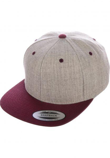 Flexfit Caps Snapback Cap heathergrey-maroon vorderansicht 0566389