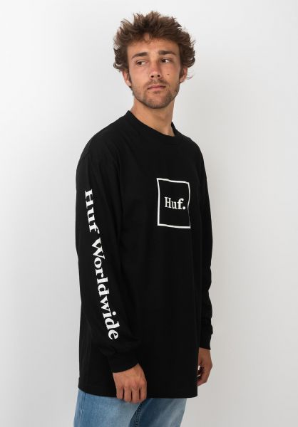 HUF Longsleeves Domestic black vorderansicht 0383473