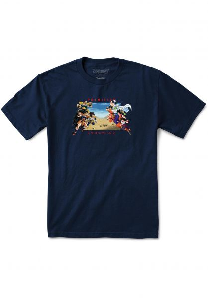 Primitive Skateboards T-Shirts x Dragon Ball Z DBZ Battle navy vorderansicht 0320090