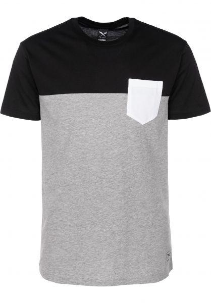 iriedaily T-Shirts Block Pocket black-white Vorderansicht