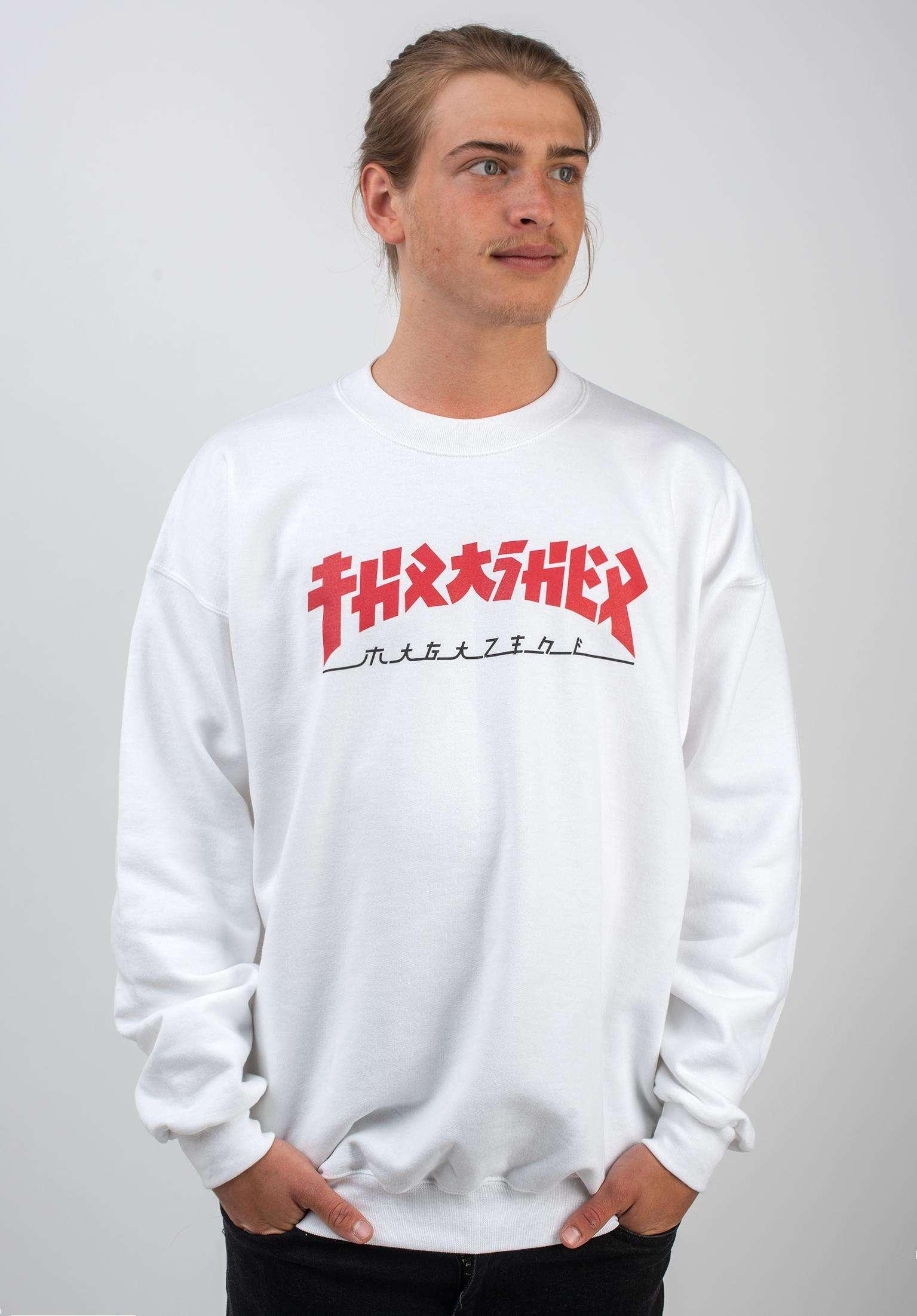 0c50134ba3b7 Godzilla Crewneck Thrasher Sweaters and Sweatshirts in white for Men | Titus
