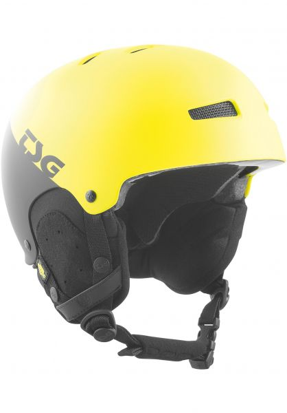 TSG Snowboardhelme Gravity Youth Graphic Design divided acid yellow-black Vorderansicht 0223005
