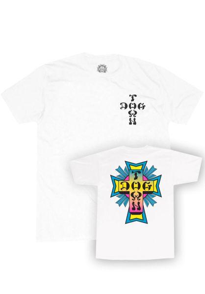 Dogtown T-Shirts Cross Logo Neon Youth white vorderansicht 0323988