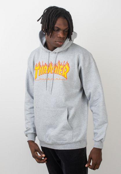 Thrasher Hoodies Flame greymottled vorderansicht 0044255