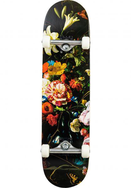 ÜBER Skateboard komplett Flowers lightblue vorderansicht 0162859