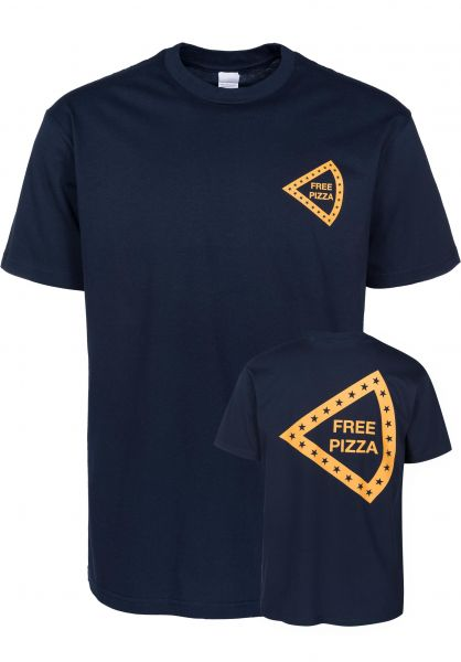 Happy Hour Skateboards T-Shirts Free Pizza navy Vorderansicht
