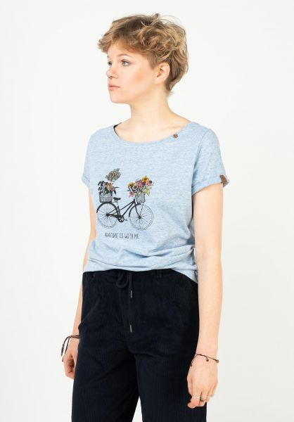 Ragwear T-Shirts Florah Print blue 121 vorderansicht 0322818