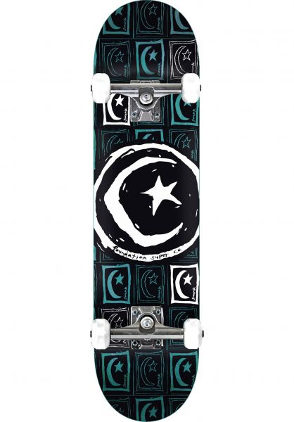 Foundation Skateboard komplett Star & Moon Square Repeat black Vorderansicht