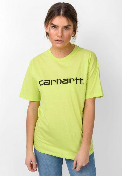 Carhartt WIP T-Shirts W´ Script lime-black vorderansicht 0035956