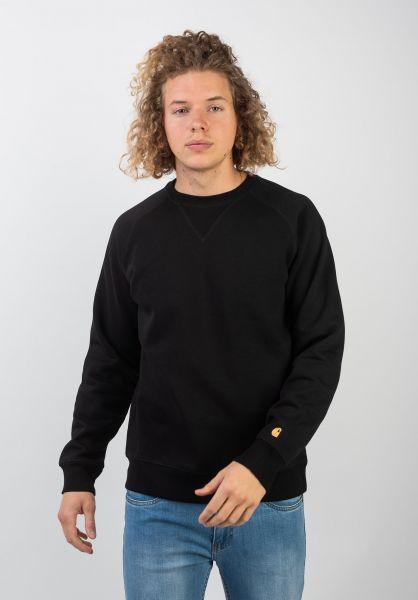 Carhartt WIP Sweatshirts und Pullover Chase black-gold vorderansicht 0420832