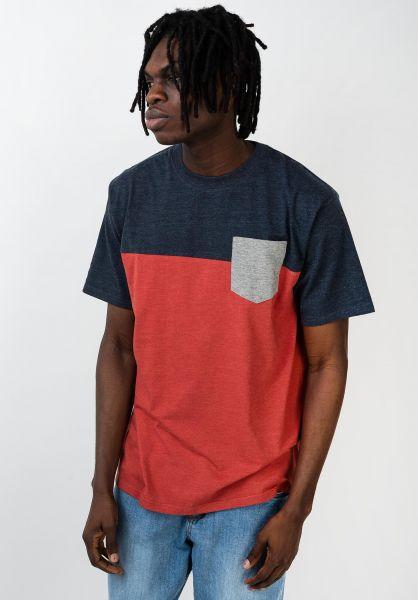 TITUS T-Shirts Colourblock Pocket rostheather-deepnavymottled-greymo vorderansicht 0398349