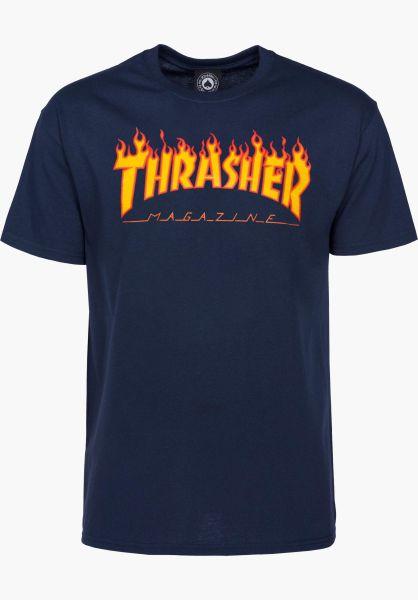 Thrasher T-Shirts Flame navy vorderansicht 0036093
