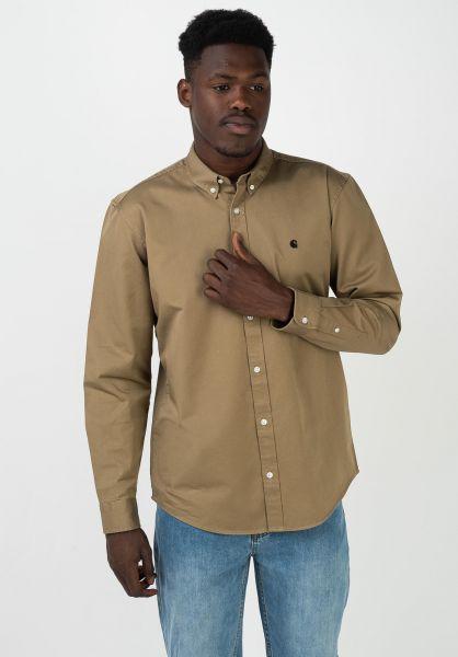 Carhartt WIP Hemden langarm Madison leather-black vorderansicht 0411884