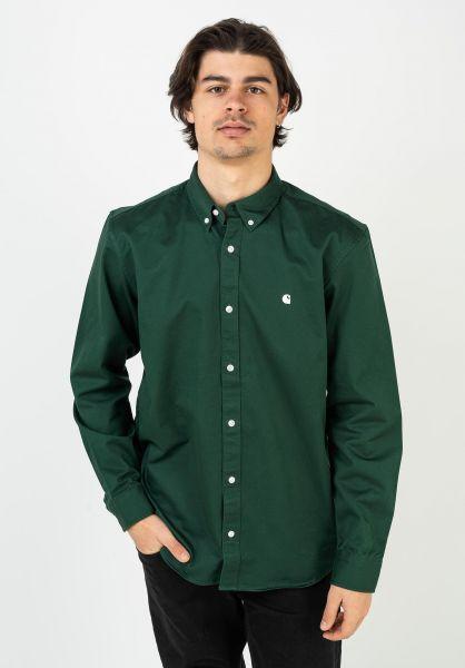 Carhartt WIP Hemden langarm Madison treehouse-wax vorderansicht 0411884